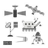 Isolated grayscale space cosmos elements. Shuttle, rocket, satellites. Antenna and moonwalker. Made in flat style stock illustration