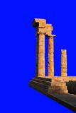 Isolated Greek temple ruin. An isolated ruin of a ancient Greek temple at sunset with clipping path Royalty Free Stock Photo