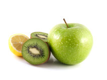 Isolated green apple, kiwi and yellow lemon. (white background). Fresh diet fruit (water drops). Healthy fruit with vitamins Stock Photos