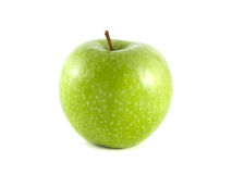 Isolated green apple on white background. Fresh diet fruit. Healthy fruit with vitamins Royalty Free Stock Image
