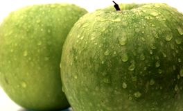 Isolated green apples in the water drops. Shot of an isolated green apples in the water drops Royalty Free Stock Images
