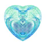 Isolated green and blue fractal heart