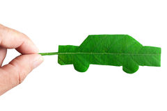 Isolated green car. Cut from leaf, save world concept Stock Image