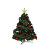 Isolated green Christmas tree. With gold star and red balls vector illustration