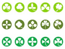 Green clover round button icons set. Isolated green clover round button icons set from white background Stock Photo