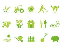 Green color farm icon set Royalty Free Stock Images