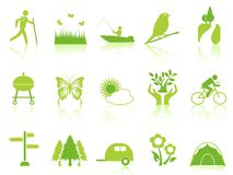 Green color garden icons set. Isolated green color garden icons set from white background Royalty Free Stock Photo