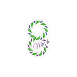 Isolated green color number eight of leaves and petals with purple word march icon, international women day greeting Royalty Free Stock Photos