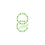 Isolated green color number eight of leaves with word march icon, international women day greeting card element vector Royalty Free Stock Image