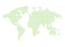 Isolated green color worldmap of dots on white background, earth vector illustration Royalty Free Stock Images