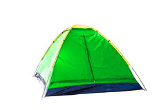 Isolated green dome tent on white Royalty Free Stock Photography