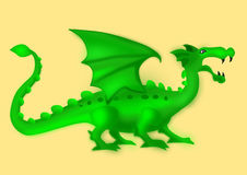 Isolated green dragon. Isolated green cartoon dragon on yellow background stock illustration