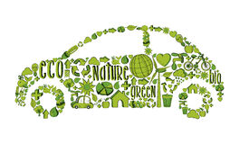 Isolated green ecocar environmental icons Stock Images