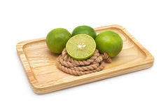 Isolated green fresh lemons Royalty Free Stock Photos