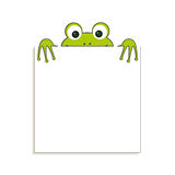 Isolated green frog with white paper. Has place for any text. Can use for note or blank. Royalty Free Stock Photos