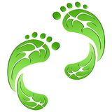 Green leaf carbon eco footprints. Isolated green leaf carbon eco footprints on white background Stock Photos
