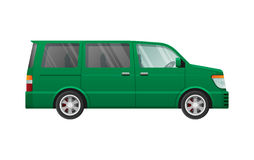 Isolated Green Minivan in Simple cartoon style Stock Images