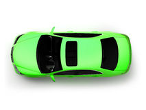 Isolated Green Modern Car Top View Stock Photo