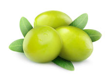 Isolated green olives Royalty Free Stock Image