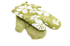 Isolated green oven mitts Stock Images