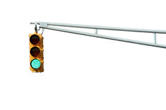 Isolated Green traffic signal light Stock Photography