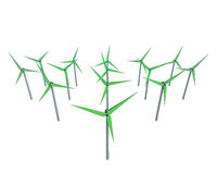 Isolated green windmill generators field Stock Photo