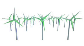 Isolated green windmill generators in rows Royalty Free Stock Photos