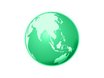 Isolated green world globe. On a white background Royalty Free Stock Photography