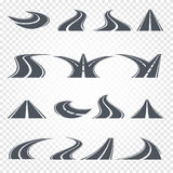 Isolated grey color road or highway with dividing markings on white background vector illustrations set. Royalty Free Stock Images