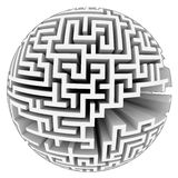Isolated grey labyrinth sphere structure Royalty Free Stock Image