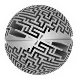 Isolated grey labyrinth sphere symmetry Stock Images