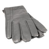 Isolated grey leather lady gloves, large detailed macro closeup Stock Image
