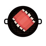 Isolated grill and bbq ribs design. Grill and ribs icon. Bbq menu steak house food and meal theme. Isolated design. Vector illustration Stock Photography