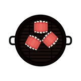 Isolated grill and bbq ribs design. Grill and ribs icon. Bbq menu steak house food and meal theme. Isolated design. Vector illustration Royalty Free Stock Photo