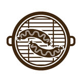 Isolated grill and sausage design. Grill and sausage icon. Bbq menu steak house food and meal theme. Isolated design. Vector illustration Stock Images