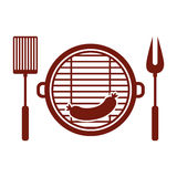 Isolated grill and sausage design. Grill and sausage icon. Bbq menu steak house food and meal theme. Isolated design. Vector illustration Royalty Free Stock Photo