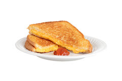 Isolated grilled cheese on a plate Stock Photos
