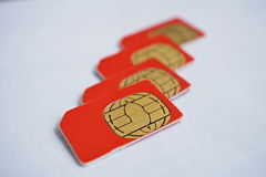 Isolated group of four red SIM cards used in the mobile phones (cell phone) with focus on golden micro chip Royalty Free Stock Images