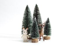 Forest firs and reindeer Stock Image