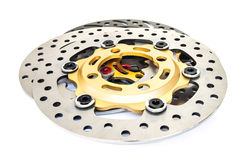 Isolated group of new disc brake for motorcycle Royalty Free Stock Photography