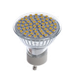 Isolated GU10 socket LED light bulb Stock Photo