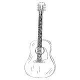 Isolated guitar outline Stock Photography