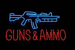 Isolated Gun and Ammo Neon Sign Royalty Free Stock Photography