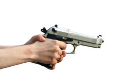 Isolated gun in hand Stock Photo