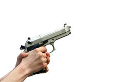 Isolated gun in hand Royalty Free Stock Image