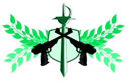 Isolated Guns label with sword and floral decoration isolated Royalty Free Stock Image