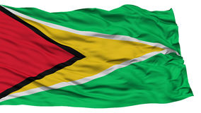Isolated Guyana Flag. Waving on White Background, High Resolution Royalty Free Stock Images