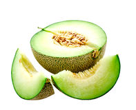 Isolated half cut of Japanese melon Royalty Free Stock Image