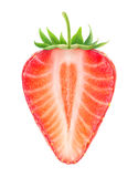 Isolated half of strawberry with heart shaped core Royalty Free Stock Images