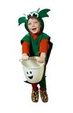 Isolated Halloween Kid. Cute little boy (3) dressed as green baby dragon playing trick or treat at a door at Halloween, isolated on a white background Stock Image